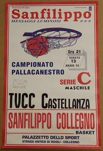 Manifesto Collegno Basket vs. Castellanza - Serie C Maschile
