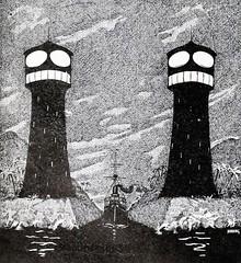 Grimacing Lighthouses (sjrankin) Tags: lighthouse illustration dark canal humorous ship edited humor historic grayscale bookillustration internetarchive bookimage 30august2014 internetarchivebookimage