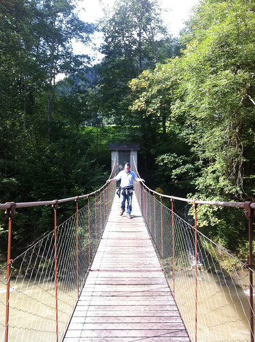Andy on Hittisau suspension bridge - Aug 2014 - 2
