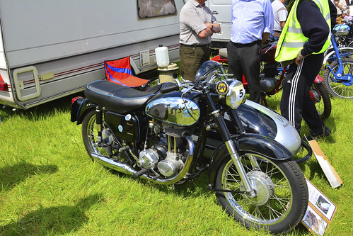 Woolpit Steam Rally, Classic Motorbikes, AJS 19 1960 + 1957 Sidecar