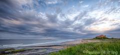 Bamburgh Beach (stagenutuk) Tags: sunset sea sky beach water clouds landscape coast sand scene northumberland eveninglight bamburghcastle bamburghbeach nikond7000 nikon1024mmlens
