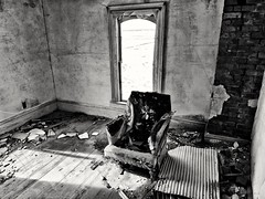 the waiting is the hardest part... (BillsExplorations) Tags: abandoned decay ruraldecay forgotten lone chair bedroom old vintage lonechair abandonedhouse abandonedillinois blackandwhite discarded ruins prairie thewaiting tompetty kansas oncewashome