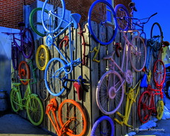 Wall of Colorful Bicycles (Tom Mortenson) Tags: bicycles wall colorful abstractart art colors digital wausau wisconsin wausauwisconsin marathoncounty geotagged bike bikes usa america northamerica midwest canon canon6d hdr tonemapping photomatix canoneos centralwisconsin colours bicyclearrangement bright walls wheels