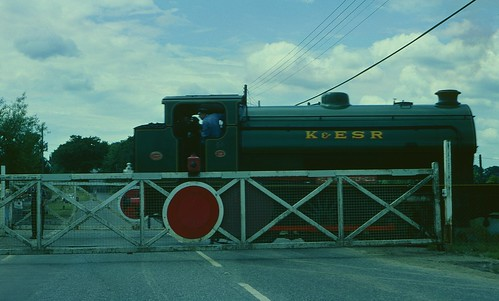 "K&ESR No 23 ""Holman F Stephens"" on Rolvenden level crossing in 1980"