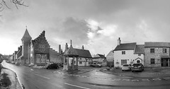 A North Yorkshire Village. (johnhjic) Tags: johnhjic nikon d90 ir helperby northyorkshire well house building houses car cars buildings sky cross village road greatbritain blackwhite black white bw england street st english