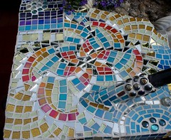 Spiral Mosaic 002 (Sensation Art Gallery) Tags: blue garden spiral mosaic iridescent mirrortiles