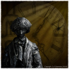 Time is a shadow (Squiddy1963) Tags: trees art clock statue composite dark spider moody shadows artistic time gimp manipulation olympus layers conceptual atmospheric omd em5 mzuiko