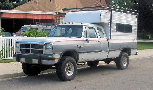 classic truck vintage 4x4 pickup pickuptruck vehicle dodge mopar ram camper 1990s cummins madeinusa americanmade fourwheeldrive campershell twotone clubcab turbodiesel 34ton extendedcab w250 cumminsdiesel eyellgeteven