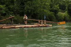Floss von Captain J-C ( 9 x 3.6 Meter gross und ber 5.5 Tonnen schwer ) unterwegs auf dem Rhein ( Fluss - River ) oberhalb L.aufenburg im Kanton Aargau in der Schweiz (chrchr_75) Tags: chriguhurnibluemailch christoph hurni schweiz suisse switzerland svizzera suissa swiss kantonaargau chrchr chrchr75 chrigu chriguhurni 1406 juni 2014 hurni140628 floss captain jc rhein fluss river albumrhein rhin reno rijn rhenus rhine rin strom europa joki rivire fiume  rivier rzeka rio flod ro juni2014
