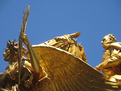 Civil War Statue General Sherman on Horseback with Angel 1349 (Brechtbug) Tags: street plaza new york city nyc roof cactus building green art yellow statue architecture angel bronze gold hotel leaf wings construction hands war pin afternoon shadows general near top flag fingers profile civil american underneath needles avenue 5th cushion sherman 59th the 06152014