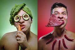 Planter or Hunter. (Tomas.Kral) Tags: selfportrait man canon studio 50mm vegan autoportrait meat carrot hunter planter strobe speedlite 5dmarkii yn560ii dedpxl09