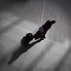 X marks the spot (donvucl) Tags: light shadow bw london textures squareformat figure kingscross donvucl olympusepl5