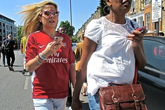 You're Never Alone With An iPhone (Herschell Hershey) Tags: park street woman london apple cup sunglasses women candid victory nike parade replica emirates smartphone strip islington highbury arsenal winners fa drayton iphone