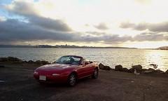 Miata at Berkeley Pier (Mr Pika) Tags: convertible mazda miata mx5 roadster eunos redconvertible redsportscar