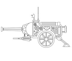 Cannon (Marcos D. Torres) Tags: two white black branco hammer illustration drawing preto double sharp cocktail weapon cannon sword illustrator bloody draw weeks marcos molotov vector ilustração desenho weapons torres corel vetor nunchaku