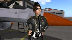 """Any questions?"" (alexandriabrangwin) Tags: world new woman hat leather female computer captains 3d graphics shiny uniform fighter desert pants aircraft military hangar jet rubber jacket secondlife virtual latex airforce russian recruits eyepatch pvc cgi airfield instructor dominating incharge commanding alexandriabrangwin"