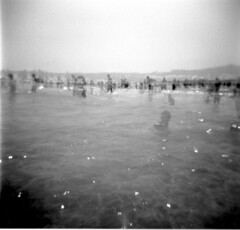Striple Exposure (guido.masi) Tags: sardegna sea people blackandwhite holga sand mare doubleexposure ilford spiaggia biancoenero tripleexposure stintino guidomasi