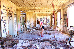 Haven (CaledoniaEHanson) Tags: haven abandoned girl resort suit teenager bathing rubble urbanexploring
