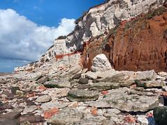 Crumbling cliffs at Hunstanton, Norfolk. 26 August 2014 (ricsrailpics) Tags: uk chalk norfolk cliffs hunstanton 2014