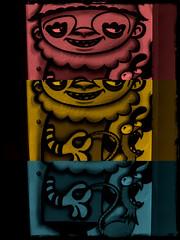 Three Tone Clown (See El Photo) Tags: california ca street city blue red urban 15fav favorite streetart color colour art chicken strange smile yellow cali digital fun graffiti weird colorful paint colore different grafiti drawing clown graf makeup urbanart odd artsy fav draw graff collar couleur grafite faved seeelphoto spripes