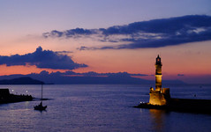 Last Boat In (save rhinos) Tags: sunset lighthouse sailboat evening harbor fuji greece crete hania chania 18135 xt1