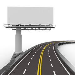 asphalted road with billboard. Isolated 3D image (clickerstudio) Tags: auto road street trip travel bridge car sign promotion illustration way poster concrete marketing 3d highway track message traffic motorway outdoor path empty border transport ad banner perspective autobahn automotive billboard advertisement direction whitebackground blank transportation vehicle destination concept outline asphalt information navigation isolated striped forward itinerary speedway dividing russianfederation