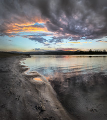 Shore line - Regatta (dazza17 - DJ) Tags: sunset lake water clouds reflections timelapse pano qld hdr daryljames httpdaryljamesphotographycom regattawaterssunset uppercooomera