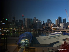 Night And Day At Darling Harbour (Lyndon (NZ)) Tags: city night landscape cityscape fuji harbour sydney gimp australia darlingharbour 2015 nightonearth xs1 fujifilmxs1