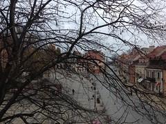 Rynek z pokoju w hotelu Pod Ciżemką w Sandomierzu