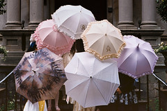 Lolita Umbrellas (Irrational Photography) Tags: retro vintage antique analogue analog hipster film 35mm 120 35 montreal quebec canada lolita saintdolores sainte dolores umbrellas colors dress dresses stairs picture pictures photo photos pic pics 100v10f koala meatpie meat pie koalameatpie rococo irrational photography