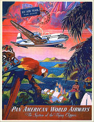 postcard - from Jette, Netherlands (Jassy-50) Tags: bird plane vintage poster airplane postcard parrot postcrossing airline panam paa reprint travelposter panamericanworldairways panamericanairways panamtravelposter