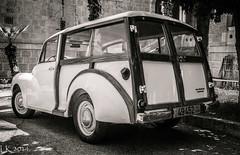 1960s Morris Minor 1000 Traveller (kitchener.lord) Tags: auto uk israel blackwhite jerusalem morris 2014 fujinonxf1855