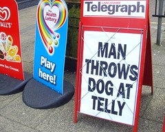 Front page news in Todmorden (Tony Worrall Foto) Tags: county street silly sign paper fun town place northwest notice north ad visit location headline advert northern telegraph westyorkshire todmorden 2014tonyworrall manthrowsdogattelly