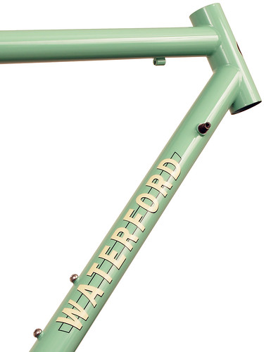 <p>Front-end view of Waterford 14-Series Road Sport in Rock Moss Green with Ivory Block Decals.  This simple, yet compelling color combination will attact looks with its understatement.</p>