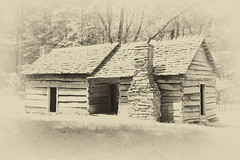 Mountain Cabin - Ephraim Bales Place (rschnaible) Tags: park old travel bw usa white house mountain black mountains history home sepia photography us log cabin place tn farm tennessee south sightseeing monotone tourist historic east southern national destination homestead ephraim smoky bales eastern