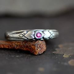 sterling silver ring with ruby and hearts (2trickpony) Tags: 2 silver design heart antique jewelry ring pony sterling trick ruby reproduction
