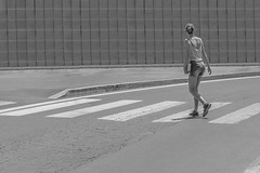 Trapped (mak ruben) Tags: street bw white black net girl streetphotography signals zebra fujifilm xe2
