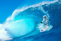 Surf Trooper (Yangchih) Tags: blue sea toy star lego wave surfing stormtrooper minifigure