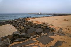 Jeteé sur la Promenade (V.H. Belvadi) Tags: sea india france beach french pier sand rocks jetty tsunami shore pondicherry bayofbengal