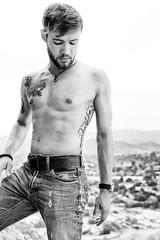 Matthias Unbound (#28) (dksmediasolutions) Tags: california ca shirtless portrait blackandwhite bw usa tattoo america beard