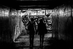 Young Love (Mike Kniec) Tags: street boyfriend silhouette canon manchester graffiti photo girlfriend couple pair streetphotography silhouettes lovers streetphoto boyandgirl boyfriendandgirlfriend canon40d