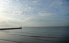 Morning walk (a.polenghi994) Tags: wood morning blue sea sky men beach water silhouette clouds work mare playa pontile mattina