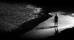 [ Tutto l'oro del mondo in cambio delle branchie - The world's gold in return of gills ] DSC_0567.3.jinkoll (jinkoll) Tags: sunset shadow sea bw man beach sand waves alone vaticano shore capo calabria
