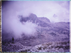 Misty Mountains (Bastiank80) Tags: camera mountains color film misty analog meer fuji hiking being watching large hike explore pack human silence instant 4x5 format feeling expired ebony breathing summits steinernes fp100c45 bastiank sv45ti