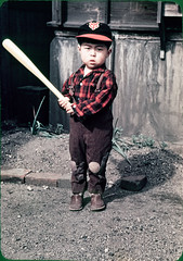 old boy japan kids vintage children japanese kid child baseball bat cap 1950s plaid foundphoto baseballcap baseballbat 1950sfashion yomiurigiants oldjapan foundnegative