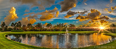 Sunset Pond (DonMiller_ToGo) Tags: sunset summer sky panorama orange sun lake yellow clouds reflections landscape lakes sunsets panoramic g5 blueskies skyscapes hdr goldenhour sunflare lightflare skycandy 3xp hardlight 3exposures hdrphotography hdrpanoramic millerville skypainter myflorida sunsetmadness sunsetsniper panoimages3