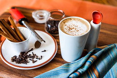 Pumpkin Spice Latte (Culinary Fool) Tags: wood autumn orange fall cup coffee diy drink cinnamon stripes board spice beverage spoon towel september mug jar espresso latte grater nutmeg cloves microplane 2014 culinaryfool makeyourown 2470mm28 pumpkinspicelatte brendajpederson