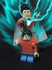 Shazam! (MrKjito) Tags: lego dc minifig custom shazam captain marvel super hero magic power lighting up transformation