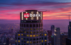 US Bank Tower, Skyspace LA (STERLINGDAVISPHOTO) Tags: skyspacela usbanktower skyslide skyscraper losangeles dtla downtownlosangeles downtownskyline usbanksign ledusbanksign sunset twilight pinkclouds aerialphotography