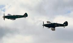 BBMF Spitfire & Hurricane (MJ_100) Tags: show plane airplane fighter aircraft aviation hurricane wwii aeroplane airshow ww2 spitfire raf hawker secondworldwar supermarine throckmorton royalairforce battleofbritainmemorialflight bbmf